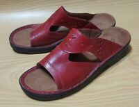 Clarks Womens Mules Slip On Sandals 7 M Red Leather Shoes