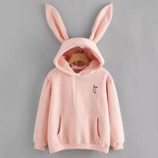 Womens Rabbit Ear Girl Long Sleeve Hoodie Sweatshirt Hooded Coat Top Blouse Cute