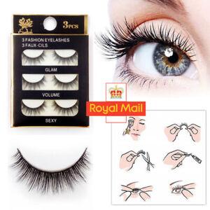 3Pairs 3D Natural Mink Short False Eyelashes Hand-made Fake Eye Lashes Makeup UK