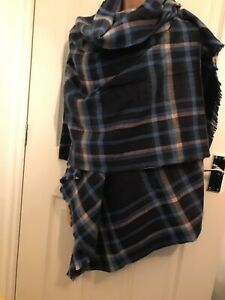 """PRIMARK SCARF WRAP PASHMINA COSY SOFT WOOL FEEL BLUES PINK MIX CHECKED 28""""x70"""""""