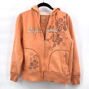 Life is Good Womens Hoodie Orange Sweater Zip Small