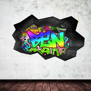 FULL COLOUR PERSONALISED 3D GRAFFITI NAME CRACKED WALL STICKER DECAL WSD127