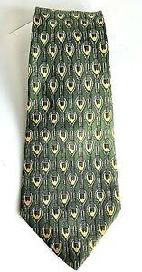Vintage Hermes Neck Tie Green Gold Pattern Silk Dry Cleaned