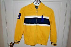 POLO RALPH LAUREN Large 14/16 Boys Full Zip BIG PONY Cotton Hoodie Yellow Navy