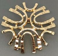 Sarah Coventry MCM Modernist Abstract Gold-tone Brooch Vintage Estate Jewelry