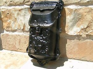 Cast Iron mailbox suggestion box Black Victorian