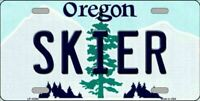 Skier Oregon State Background Novelty License Plate