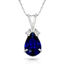 3.70CT Pear Shape Blue Sapphire 4 Stone Pendant & Necklace 14K White Gold