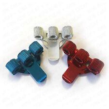 Triple Métal Porte-Stylo Avec Clip Poche-rouge, bleu et blanc-Pack de 3