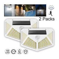 2x LED Solar Powered PIR Motion Sensor Outdoor Garden Light  Flood Lamp UK