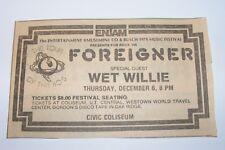 Vtg 1979 Foreigner Wet Willie Busch Concert Newspaper Ad Knoxville Tennessee