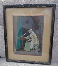 *VERY OLD Antique Textile Cloth Collage Painted Picture Lady Grey for Museum?