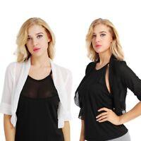 Womens Sheer Mesh Chiffon Half Sleeve Bolero Shrug Vest Crop Open Front Cardigan