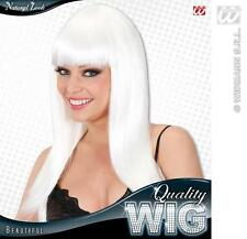 Ladies Long White Wig With Fringe Beautiful Diva Lady Gaga Style Fancy Dress