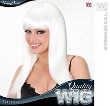 Onorevoli lunga Bianco Parrucca con Frangia Bella Diva Lady Gaga Stile Fancy Dress