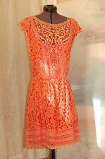 NWT Champagne & Strawberry Orange Lace Open Back Dress Size L