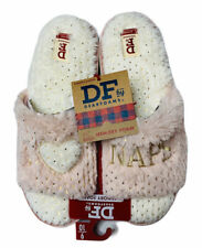 NEW Womens Dearfoams Pink Plush I Love Naps Indoor Outdoor Slide Scuff Slippers