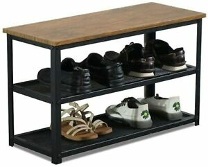 Wooden Shoe Storage Rack Shoe Organiser Natural Wood Metal Frame Space-Saving