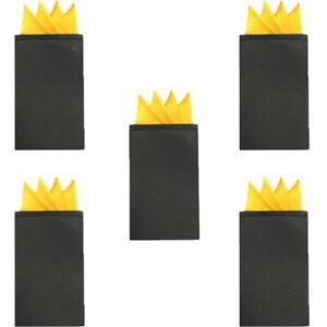 5 PCS Men Solid 4 Folds Handkerchief Wedding Party Pre-folded Pocket Square