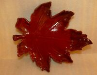 Maple leaf retro ceramic ashtray, Trinket Dish, vintage, red  brown, large, MCM