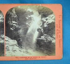 1860/70s Stereoview Photo Cascade De La Gorge Du Trient E Lamy Suisse