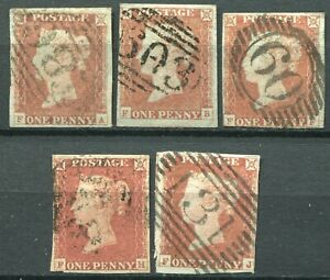 """(290) 5 VERY GOOD USED SG8 QV 1d RED BROWN PLATE 71 """"F-A"""" to """"F-J"""""""