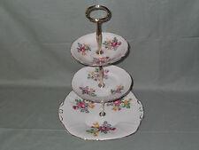 Regency porcelana inglesa vintage 3 Niveles Pastel Soporte De La Placa Patrón Floral Rosa