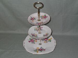 Vintage Regency English Bone China 3-Tier Cake Plate Stand  Pink Floral Pattern