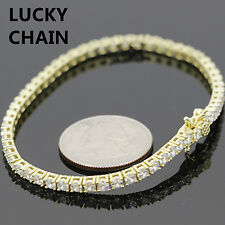 "925 STERLING SILVER ICED OUT GOLD TENNIS LINK BRACELET 8"" 12g IP72"