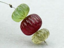 Natural Tourmaline Hand Carved Pumpkin Rondelle Gemstone Beads (17060)
