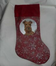 Irish Terrier Dog Hand Painted Christmas Gift Stocking Holiday Decoration