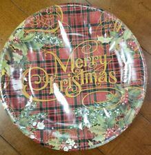 """NWT Punch Studio 16238 16-Count Plaid Holly Paper Dinner Plates Christmas 10.5"""""""