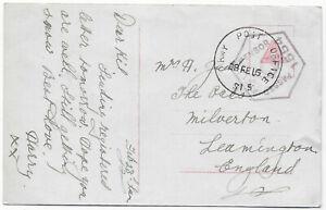 1915 ARMY POST OFFICE S15 skeleton pmk+censor on PPC->Leamington GB