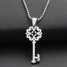Fashion Charm  Key Silver 316L Stainless Steel Titanium Pendant Necklace W21