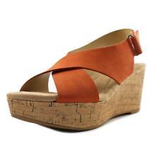 CL By Laundry Atla Women US 7 Orange Wedge Sandal NWOB  1067