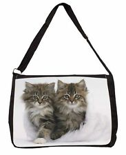 Kittens in White Fur Hat Large Black Laptop Shoulder Bag School/Colleg, AC-189SB