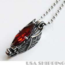 Cool 316L Stainless Steel Wing Dragon Pendant Red Stone Mens Necklace Chain
