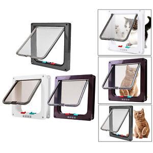 4-Way Locking Pet Door Frame Lockable Dog Gate Kitten Cat Flap Door Safe