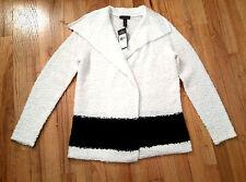 Raph Lauren Jeans Co. Draped Colorblocked Cream/Black Sweater Jacket Cardigan M