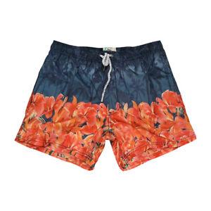 Costume da Bagno Uomo Blu Arancione Floreale Palme Pantaloncini Mare Boxer Corto