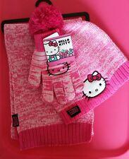 f90f73b1f Hello Kitty Girl Pom Pom Hat Gloves Scarf 3 Piece Set Pink Girls 4-16
