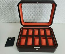 NEW WOLF Windsor 10 Piece Watch Box w/ Cover (Brown/Orange) Storage Case 458406