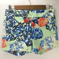 J Crew Women's Side Zip Flat Front Stretch Shorts Blue Floral Size 00