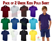 Uneek 2 PACK Children Classic Polo-Shirt Kids School TOP PE Collared Boys Girls