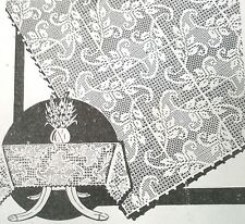 355 Vintage LW Filet LEAFY-VINE TABLECLOTH Pattern to Crochet (Reproduction)
