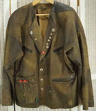 Vintage Leather Tracht Jacket Bavaria Coat of Arms XL German Janker Oktoberfest