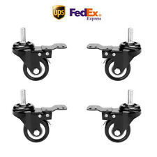 4 Packs X 2 Caster Wheels With Swivel Lock Brake Casters Safety Black