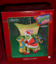 """HOLIDAY SCOUNDREL""  GRINCH Ornament Dr. Seuss RARE NEW  Carlton Cards Lighted"