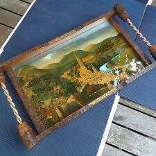 Lourdes Art Déco Plateau Bois et Laiton Vue Procédé Métal. 44 x 24 Cm -1,002 Kgs