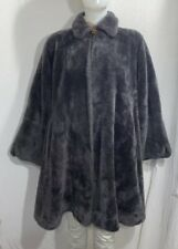 Vintage Borgana Grey Faux Fur Swing Coat Satin Lined Abraham & Straus Size L